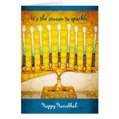 Menorah photo Sparkle custom name Hanukkah card - light gifts template style unique special diy