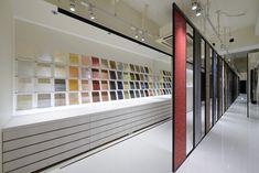 Kamism showroom design by Ichiro Nishiwaki, Tokyo Japan showroom store design Showroom Design, Tile Showroom, Furniture Showroom, Interior Design, Showroom Ideas, Lighting Showroom, Office Furniture, Bar Design, Design Blog