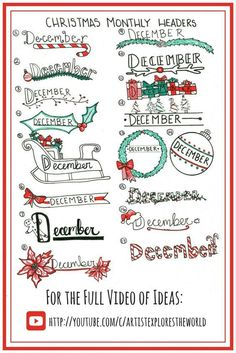 Holly Jolly Christmas Bullet Journal Ideas - Chasing A Better Life Bullet Journal Christmas, December Bullet Journal, Bullet Journal Notebook, Bullet Journal Ideas Pages, Bullet Journal Inspiration, Journal Pages, Journals, Bullet Journal Headers, Christmas Doodles