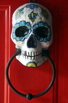 Sugar Skull Day of the Dead doorknocker hand painted. $22.00, via Etsy.