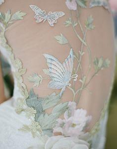 Claire Pettibone 'Papillion' wedding dress details.