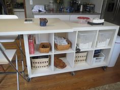 Extendable Kitchen Island using Expedit and Linmon - IKEA Hackers. This isn't exactly my dream island, but it could be a great piece for a tight space.