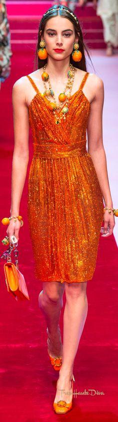 Dolce & Gabbana Spring 2018 RTW #MFW #ss18 orange cocktail dress