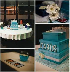 Aqua & white card box gift table with white gerbera daises Gift Table, Grad Parties, Gerbera, Our Wedding, Red And White, Diy Crafts, Box, Cake, Graduation Ideas