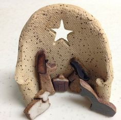 Tiny Ceramic Nativity, stoneware, sculpture, miniature, Christmas Decoration