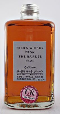 Nikka Japanese whisky From The Barrel 51.4% 50cl. This blend is elaborated with grain and malt from Miyagikyo and malt from Yoichi distillery. Nikka From The Barrel is matured in first fill bourbon cask and is a perfect balance of the Japanese whisky style.
