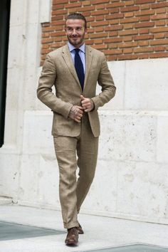 David Beckham Photos Photos - David Beckham attends Biotherm Homme presentation at Casa de Velazquez on June 2017 in Madrid, Spain. - David Beckham Is Biotherm Homme New Ambassador Linen Suits For Men, Khaki Suits, Mens Suits, David Beckham Suit, David Beckham Style, Interview Suits, Classy Suits, Best Dressed Man, Light Blue Shirts