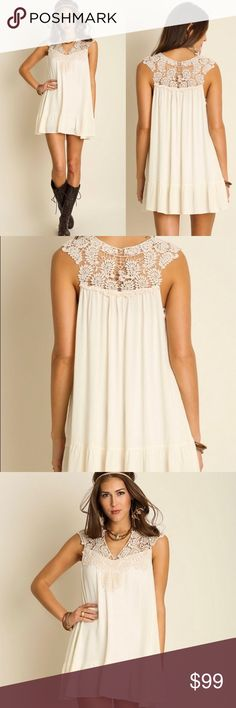 NWT Romantic Boho Lace Sleeveless Dress Tunic Flowy flattering Romantic Boho Shift Boutique Chic sleeveless high quality dress UMGEE -ivory/cream intricate detailed lace -relaxed easy fit -Soft & breathable - PRICE FIRM -TRUE TO SIZE 60% Cotton 40% Polyester. IMPORTANT Sizing: 4th picture. MUST go by measurements, NOT by size. No Returns No trades. Bundle discount available. Ask Qs MY measurements: 5'4 130lb 34C. Bust waist hips: 35, 27, 38. SMALL is perfect for ME. UMGEE Dresses Mini
