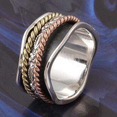925 STERLING SILVER FANCY SPINNER RING JEWELLERY 6.93g DJR4965 #Handmade #Ring