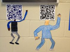 QR code portrait. Interesting use of combining technology with hands on creating!! Could use Barcodes, icons, etc