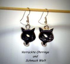 Ohrringe Katze Katzenkopf schwarz Edelstahl Ohrhänger Metall Legierung Neuware