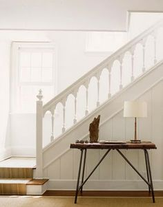 Home Remodel Curb Appeal Cottage Staircase, Entryway Stairs, Staircase Railings, House Stairs, Staircases, Staircase Landing, White Staircase, Staircase Ideas, Banisters