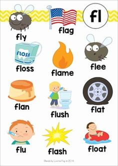 Blends Worksheets and Activities - FL FL Blends poster Alphabet Phonics, Phonics Words, Teaching The Alphabet, Learning Phonics, Phonics Reading, Kindergarten Reading, English Phonics, English Language Learners, Teaching English