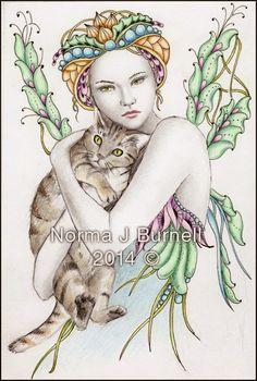 Fairy Tangles: Cat's Cradle - Original Fairy Tangles™ Drawing By .Norma J… Hope Art, Beautiful Fairies, Fairy Art, Cat Drawing, Cat Art, Tangled, Illustrations Posters, Coloring Books, Fantasy Art