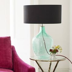 Our green bottle table lamp is boldly curvaceous and unique, suiting to an array of interior styles. Exclusive to G&G in the UK. Table Lamps Uk, Bedside Table Lamps, Diy Lamps, Desk Light, Light Table, Restauration Hardware, Gold Lamp Shades, Mirror With Lights, Lamp Bases