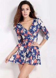 Multicolor Floral Print Deep V-Neck 3/4 Sleeve Short Dress