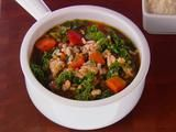 THIS SOUP IS SO GOOD! 9 STARS OUT OF 10!!! Turkey, Kale and Brown Rice Soup Recipe  - it is full of unique flavors and healthy too. People who I didn't think would eat it asked for seconds.