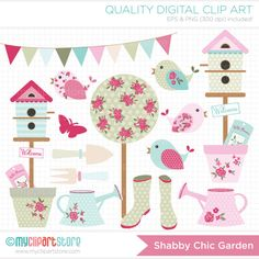 Clipart  Shabby Chic Garden / Gardening / Flower by MyClipArtStore