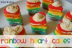 Individual rainbow cakes shaped like hearts.  Perfect for any birthday!  via Wine & Glue