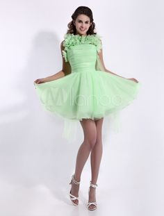 Fashion Lime Green Jewel Neck Beading Mini Length A-line Organza Prom Dress - $119.99 http://paradiseinternetmall.net/WOMEN_S_FASHIONS.html