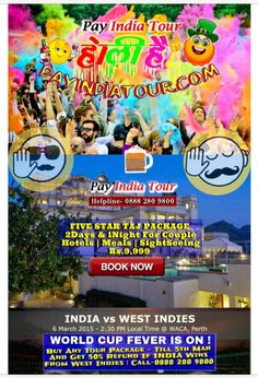 Wishing You A #Colorful #HappyHoli  Luxury Tour Package ₹5100 (2D&1N)  Hotel |Meals |SightSeeing |For 2Person  In INDIA Go #Anywhere & Go #Anytime (You Can Earn Also) PayIndiaTour.com |  Call- 08882809800 | #MLM #TRAVEL