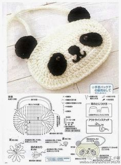 Amigurumi Panda - Free Crochet Chart Pattern ~ change purse :-D Crochet Panda, Crochet Diy, Crochet Kawaii, Love Crochet, Crochet For Kids, Crochet Sheep, Crochet Gratis, Crochet Diagram, Crochet Chart