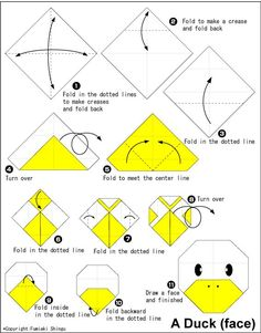 Duck(face) - Easy Origami instructions For Kids