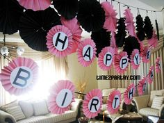 Paris Themed Birthday Party birthday banner #Pink #black #white #birthday #parisian #cake #decoration #sweet #favor #guest #book