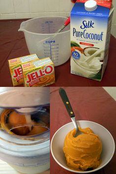 Easiest Ice Cream Ever!  (Gluten Free - Sugar Free - Dairy Free) And SO Good You'll want to make a new batch Every night! lol  3 cups Coconut Milk, 2 packages of instant pudding. Whisk together and pour into ice cream maker no smaller than a 1.5 Qt. maker.  Freeze in Tupperware container.  Can use SF pudding if you want it to be sugar free. Pictured is Pumpkin Spice Pudding.  So very yummy!
