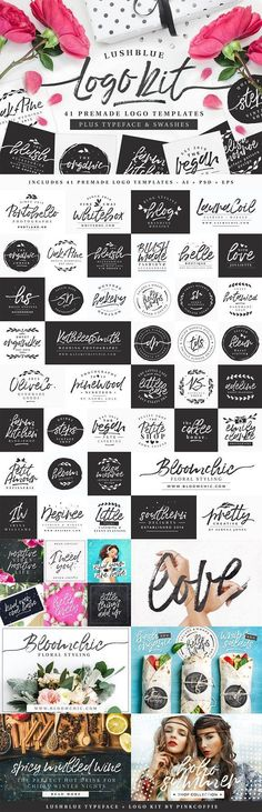 LushBlue LOGO KIT + Font & Swashes! by Pink Coffie on @creativemarket