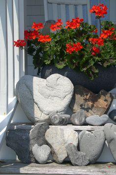 Heart Rocks on Peaks Island Heart In Nature, Heart Art, Heart Shaped Rocks, Peaks Island, Rock Decor, I Love Heart, Love Rocks, Garden Pictures, Stone Heart