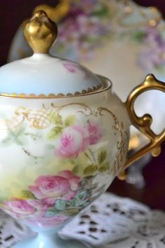 My weakness is hand painted china edged in gold....Limoges