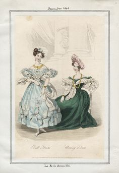 Casey Fashion Plates Detail | Los Angeles Public Library Pub. in the Court Magazine, No. 4. Oct. 1832, by Edward Bull, 26 Holles Street, Cavendish Square. Title:  La Belle Assemblee Date:  Saturday, December 1, 1832