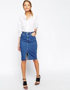 ASOS - Gonna longuette di jeans con spacco frontale