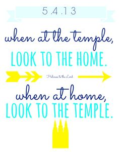 custom made home quote. look to the temple, look to the home. clean wall art.