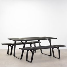 Flint Table and benches designed by Ross Gardam made by tait for a life outside