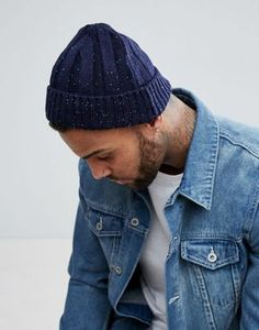 beaa2e3087a ASOS Fisherman Beanie In Navy With Coloured Nepp Beanies