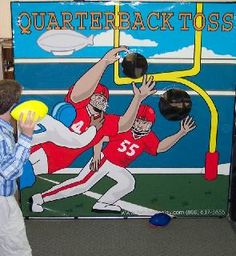 Quarterback Test (throw a football through a hanging hula hoop). #Super_Bowl Ideas. Berry Children Dental - pediatric dentist in Mitchellville & Bowie, MD @ www.berrychildrendental.com