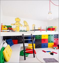 Ideas, Neoteric Kids Room That Have Lego Style Decorations Also Using Robot Theme Wall Decals And Applying Modern Pendant Lighting 011: Toy Storage Ideas Innovatively Designed for Your Kids Playroom