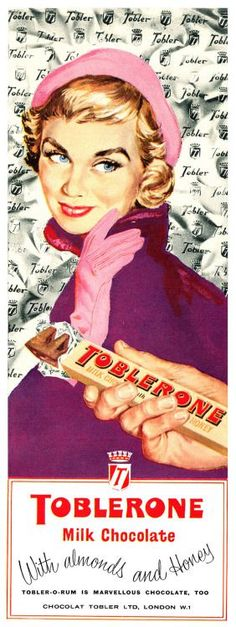 The ultimate winter chocolate & fab retro advert for Toblerone. Pub Vintage, Vintage Candy, Vintage Labels, Vintage Signs, Vintage Style, Vintage Food, Retro Style, Vintage Advertising Posters, Old Advertisements