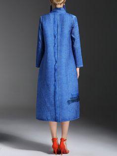 StyleWe - Blue Plain Pockets Elegant Coat