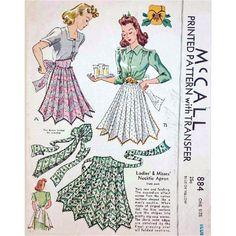 Unique Necktie Apron Sewing Pattern 1941 McCall 885