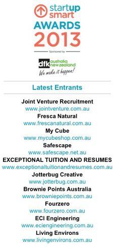 Start Up Smart Awards Finalist 2013 www.fourzero.com.au