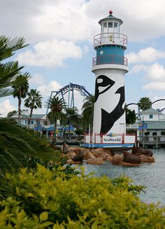 The lighthouse at the entrance to SeaWorld Orlando.