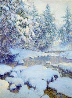 I think the trees are lovely. Artist: Walter Launt Palmer (American, 1854-1932); Title; A Stream in Winter; Medium: Oil on Canvas.
