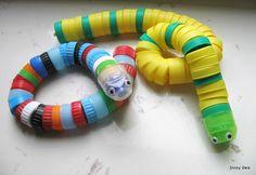 węże z nakrętek - ekozabawka