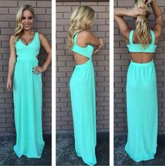 Green Plain Cut Out Pleated Chiffon Maxi Dress - Maxi Dresses - Dresses