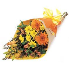 -  :  Bouquet of Mixed #Flowers in yellow and oranges tones, including #Gerberas, Chrysanthemums, Alstro and Lilliums. Perfect for the home or office. Send #Flowers Online to #Australia