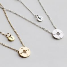 Compass Necklace, Personalized initial christmas gift, Graduation Friendship Necklace, Best Friends, BFF Gift, sister, Journey Necklace by birdshome on Etsy (null)