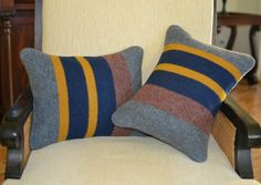 Pendleton LAKE Yakima Camp Blanket pillow shams handcrafted striped blue pillows #Handmade